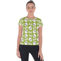 Skull Bone Mask Face White Green Short Sleeve Sports Top