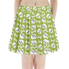 Skull Bone Mask Face White Green Pleated Mini Skirt
