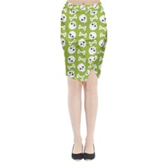 Skull Bone Mask Face White Green Midi Wrap Pencil Skirt