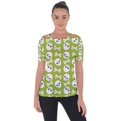 Skull Bone Mask Face White Green Short Sleeve Top