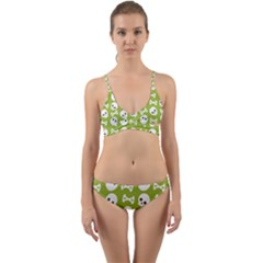 Skull Bone Mask Face White Green Wrap Around Bikini Set