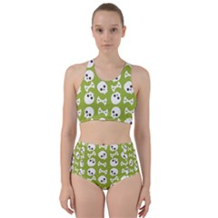 Skull Bone Mask Face White Green Racer Back Bikini Set