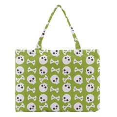 Skull Bone Mask Face White Green Medium Tote Bag