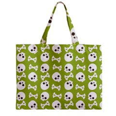 Skull Bone Mask Face White Green Zipper Medium Tote Bag