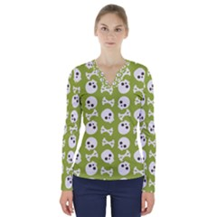Skull Bone Mask Face White Green V-Neck Long Sleeve Top