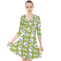 Skull Bone Mask Face White Green Quarter Sleeve Front Wrap Dress
