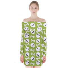 Skull Bone Mask Face White Green Long Sleeve Off Shoulder Dress