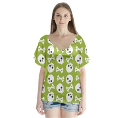 Skull Bone Mask Face White Green V Neck Flutter Sleeve Top