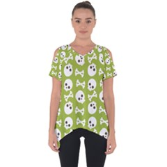 Skull Bone Mask Face White Green Cut Out Side Drop Tee
