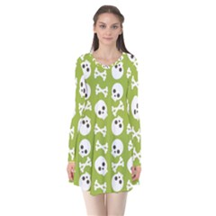Skull Bone Mask Face White Green Flare Dress