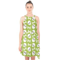 Skull Bone Mask Face White Green Halter Collar Waist Tie Chiffon Dress
