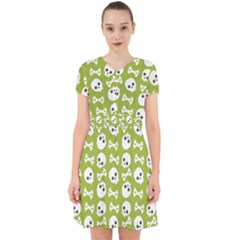 Skull Bone Mask Face White Green Adorable in Chiffon Dress