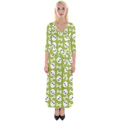Skull Bone Mask Face White Green Quarter Sleeve Wrap Maxi Dress