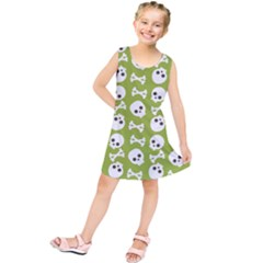 Skull Bone Mask Face White Green Kids  Tunic Dress
