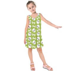Skull Bone Mask Face White Green Kids  Sleeveless Dress