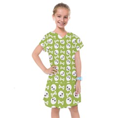 Skull Bone Mask Face White Green Kids  Drop Waist Dress