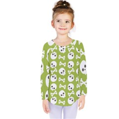 Skull Bone Mask Face White Green Kids  Long Sleeve Tee