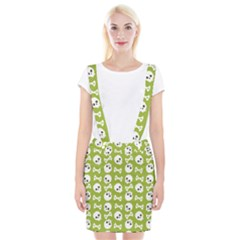 Skull Bone Mask Face White Green Braces Suspender Skirt