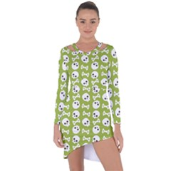 Skull Bone Mask Face White Green Asymmetric Cut-Out Shift Dress