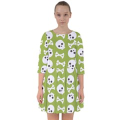 Skull Bone Mask Face White Green Smock Dress