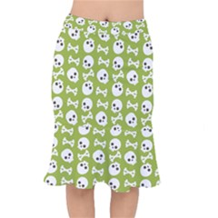 Skull Bone Mask Face White Green Mermaid Skirt