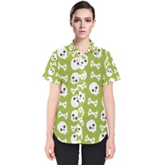 Skull Bone Mask Face White Green Women s Short Sleeve Shirt