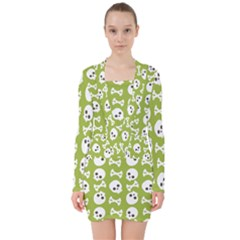 Skull Bone Mask Face White Green V-neck Bodycon Long Sleeve Dress