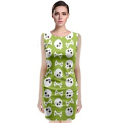 Skull Bone Mask Face White Green Sleeveless Velvet Midi Dress