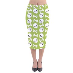 Skull Bone Mask Face White Green Velvet Midi Pencil Skirt