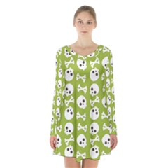 Skull Bone Mask Face White Green Long Sleeve Velvet V-neck Dress