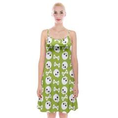 Skull Bone Mask Face White Green Spaghetti Strap Velvet Dress