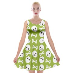 Skull Bone Mask Face White Green Velvet Skater Dress
