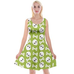 Skull Bone Mask Face White Green Reversible Velvet Sleeveless Dress