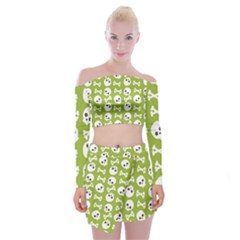 Skull Bone Mask Face White Green Off Shoulder Top with Mini Skirt Set