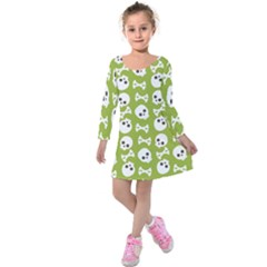 Skull Bone Mask Face White Green Kids  Long Sleeve Velvet Dress