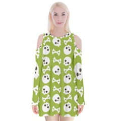 Skull Bone Mask Face White Green Velvet Long Sleeve Shoulder Cutout Dress