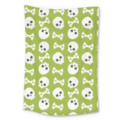 Skull Bone Mask Face White Green Large Tapestry