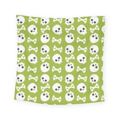 Skull Bone Mask Face White Green Square Tapestry (Small)