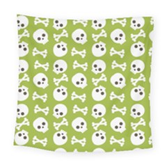 Skull Bone Mask Face White Green Square Tapestry (Large)