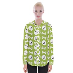 Skull Bone Mask Face White Green Womens Long Sleeve Shirt