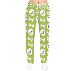 Skull Bone Mask Face White Green Drawstring Pants