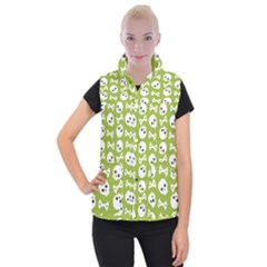 Skull Bone Mask Face White Green Women s Button Up Puffer Vest