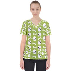 Skull Bone Mask Face White Green Scrub Top