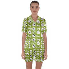 Skull Bone Mask Face White Green Satin Short Sleeve Pyjamas Set