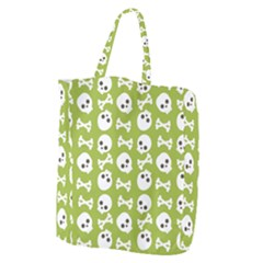 Skull Bone Mask Face White Green Giant Grocery Zipper Tote