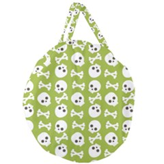 Skull Bone Mask Face White Green Giant Round Zipper Tote by Alisyart
