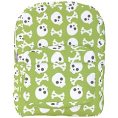 Skull Bone Mask Face White Green Full Print Backpack