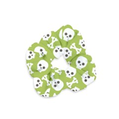 Skull Bone Mask Face White Green Velvet Scrunchie