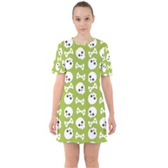Skull Bone Mask Face White Green Sixties Short Sleeve Mini Dress