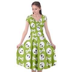 Skull Bone Mask Face White Green Cap Sleeve Wrap Front Dress